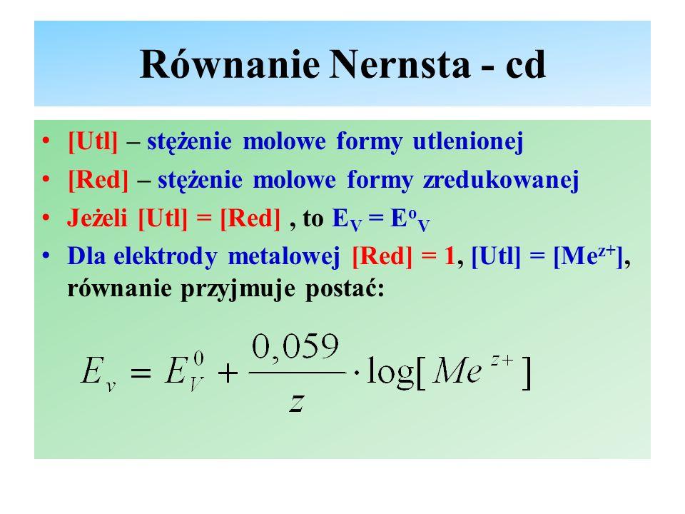 Równanie Nernsta - cd [Utl] – stężenie molowe formy utlenionej